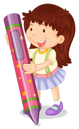 illustration of a girl with pencil on a white background Stock Vector - 15028941