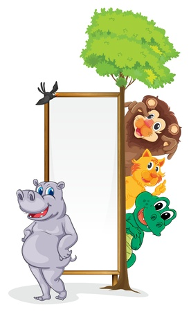 Illustration of animals with a banner Vector