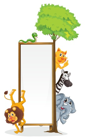 Illustration of animals with a banner Illustration
