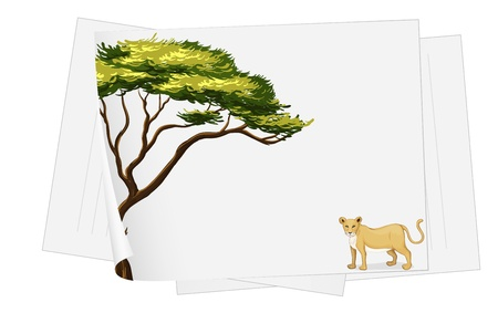 branched: Illustration of a lion and a tree