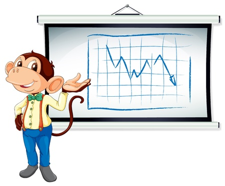illustration of monkey showing white board on white background Vector