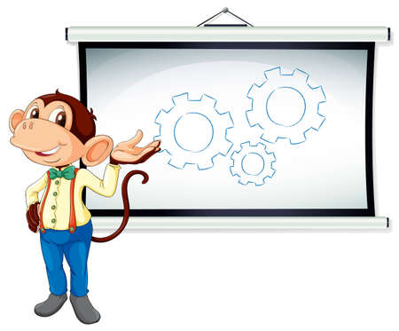 illustration of monkey showing white board on white  Vector