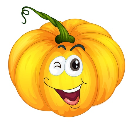 background picture: Illustration of a pumpkin winking