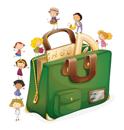 Illustration of kids with a bag Stock Vector - 15028998