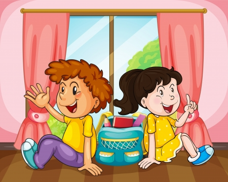 two children: illustration of a boy and girl in room near window