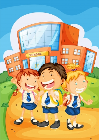 cartoon school girl: illustration of a kids in front of school Illustration