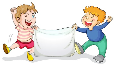 team mate: Illustration of kids with a banner