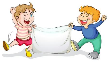 Illustration von Kindern mit einem Banner