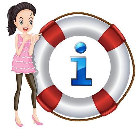 schwimmring: Illustration eines Mädchens und Lebensretter schwimmend auf einem weißen Hintergrund