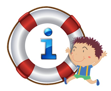 life buoy: illustration of a boy and lifesaver floating on a white background
