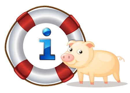 lifesaver: illustration of a pig and lifesaver floating on a white background Illustration