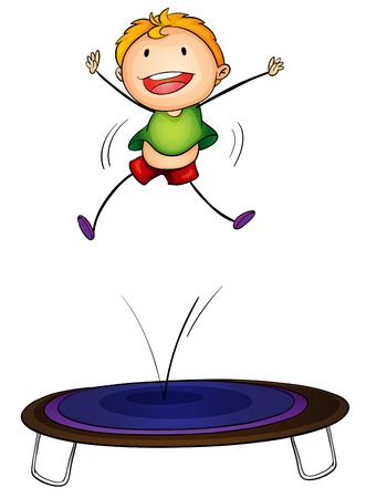 Illustration of a boy jumping on a trampoline
