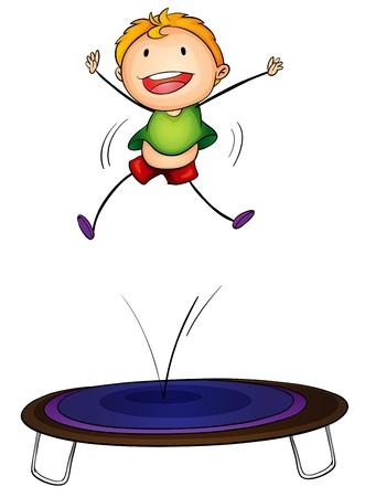 high school sports: Illustration of a boy jumping on a trampoline