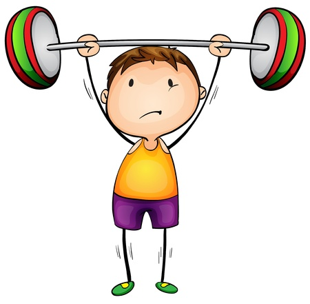 levantando pesas: Ilustraci�n de un muchacho pesos de elevaci�n