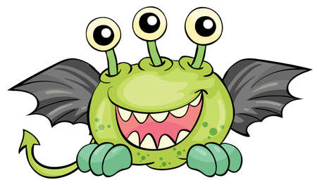 crawly: Illustration of a flying green devil