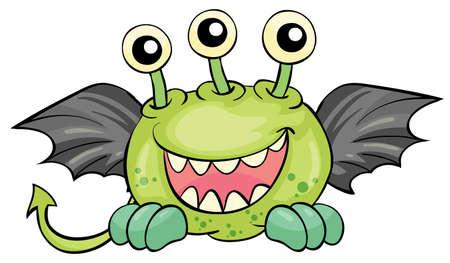 sketched icons: Ilustraci�n de un demonio volador verde