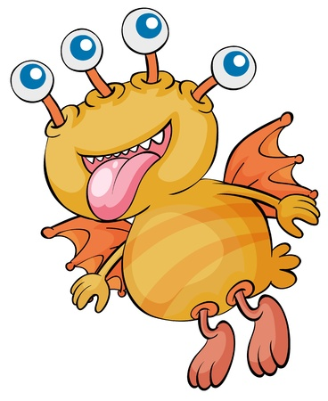 creepy monster: Illustrazione di un mostro volante arancione Vettoriali