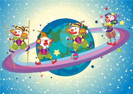 stilts: illustration of jokers on saturn planet in the universe