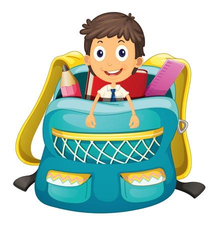 schoolbag: Illustration of a kid in a bag Illustration