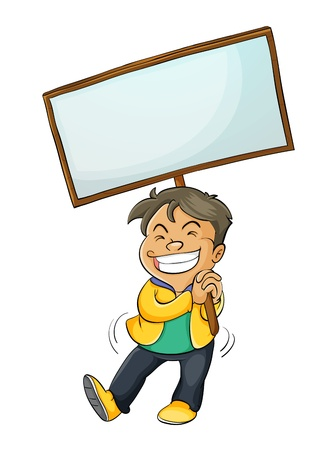Illustration of a boy with a sign Vector