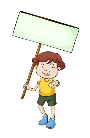 child holding sign: Illustration of a character with a sign