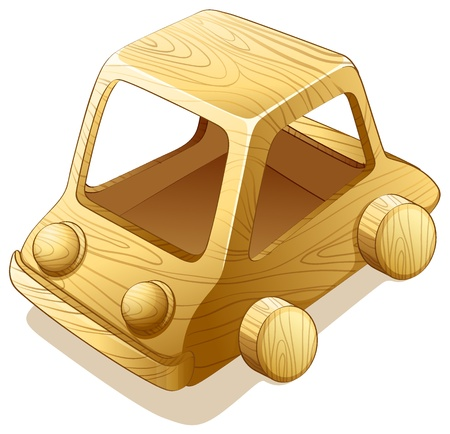 Illustration of a toy wooden car Vetores