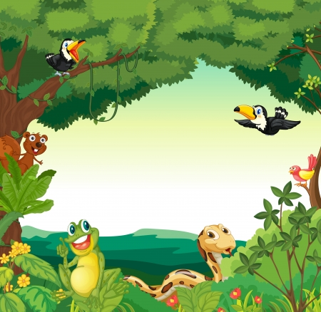 flowers cartoon: Illustration of a jungle scene Illustration