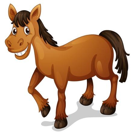 Illustrazione di un cartone animato cavallo su bianco