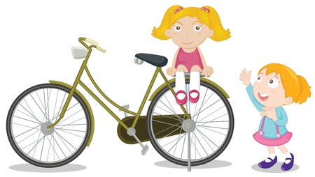 Young kids on a bike Vector