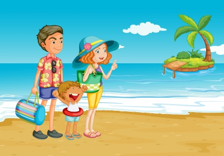 Family outing to the beach Stock Vector - 15029099