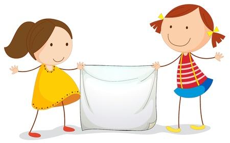 entre filles: Illustration d'enfants titulaires d'un signe