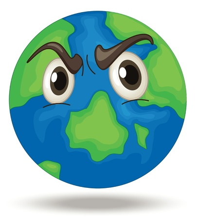 Illustration of an angry Earth Vector