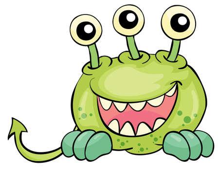 creepy monster: Illustrazione della piccola creatura su bianco