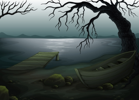 rowboat: Illustration of a cool creepy forest