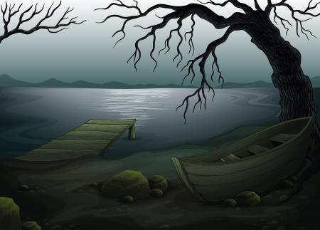 rowboat: Ilustraci�n de un bosque espeluznante fresco