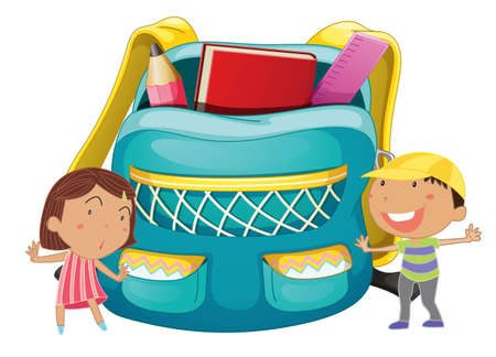 school bags: Illustration of kids with a schoolbag Illustration