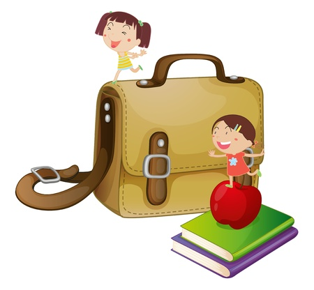 school bags: Illustration of kids and a school bag