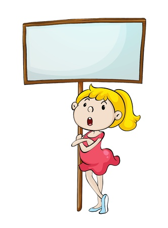 angry blonde: Illustration of a dancer with a sign