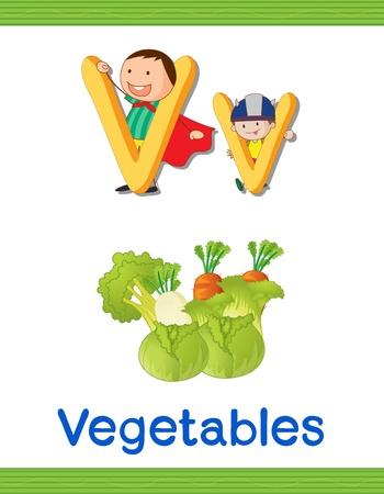 illustration of kids with letter V on a white background Stock Vector - 15250172
