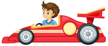 formula one racing: illustration of a boy driving a car on a white background