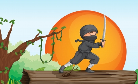 illustration of a thief in a beautiful nature Stock Vector - 15250169
