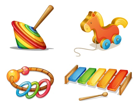 wheel spin: illustration of various toys on a white background