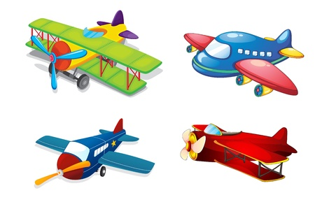 aerei: illustrazione di aeroplani diversi su uno sfondo bianco