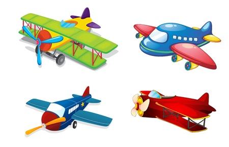 mosca caricatura: Ilustraci�n de aviones de aire diferentes en un fondo blanco Vectores