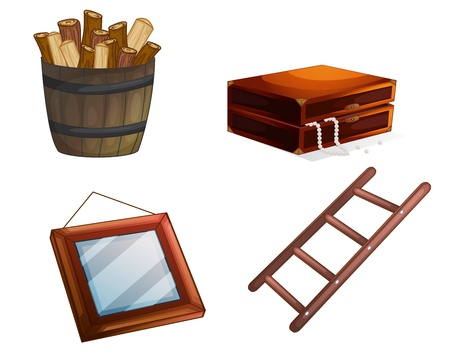 carpentry cartoon: illustration of various wooden objects on a white