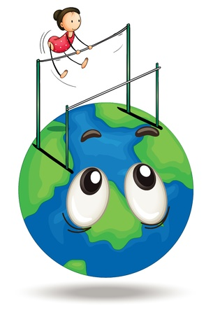 young gymnastics: illustration of a girl and earth globe on a white
