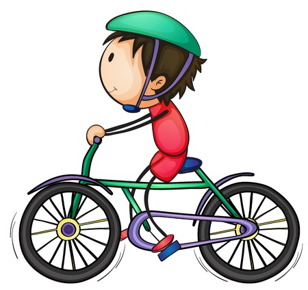 illustration of a boy on bicycle on a white background
