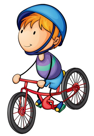 illustration of a boy riding on a bicycle Vector