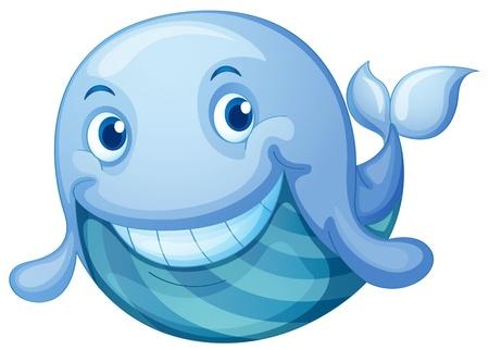 ballena azul: Ilustración de un pescado azul sobre un fondo blanco