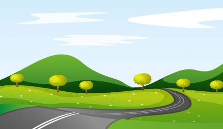 winding road: illustration of a landcape in a beautiful nature Illustration